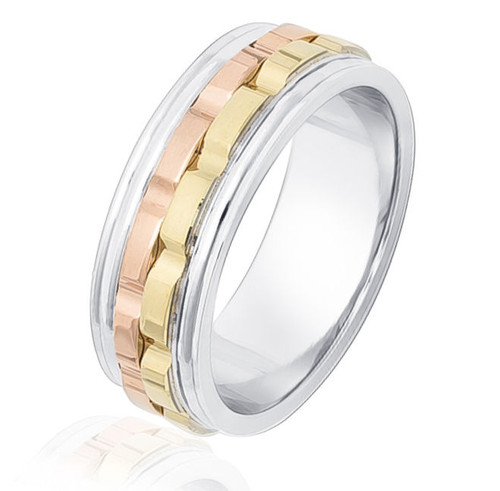 Tri-Color Ridge Design Wedding Band