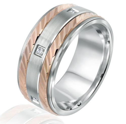 Rose & White Gold Princess Cut Wedding Ring