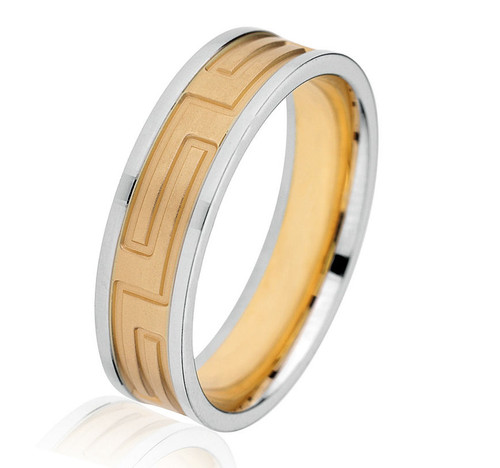 Two Tone Greek Key Wedding Band