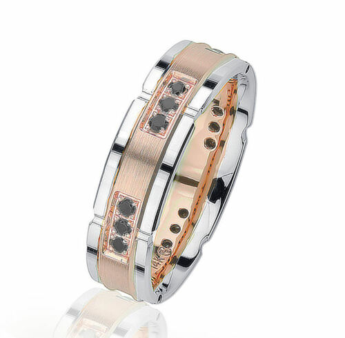 Rose & White Gold Black Diamond Wedding Ring