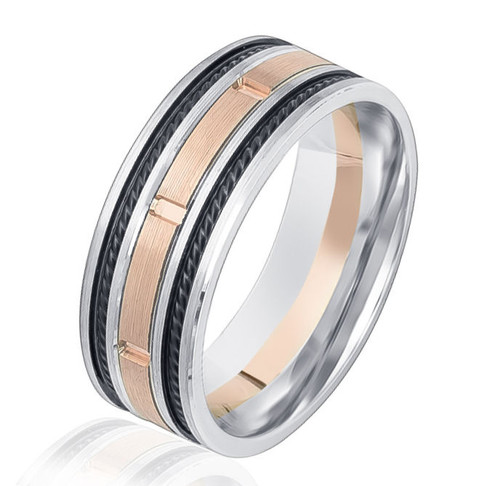 Black Rhodium, Rose & White Gold Wedding Band