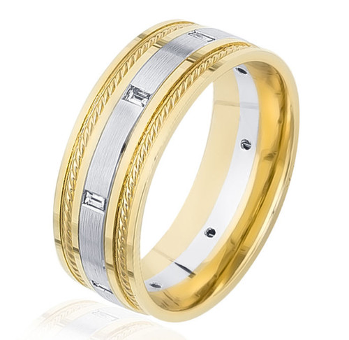 0.18 Ct Tw Baguette Two Tone Wedding Band