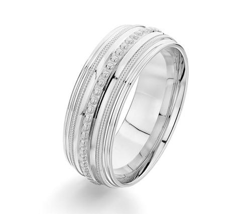 White Gold Beaded with Milgrain Ring