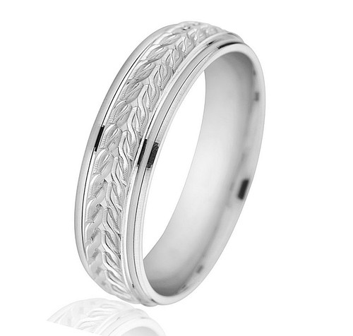White Gold Carved Wedding Band