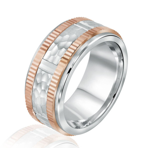 Rose & White Gold Hammered Wedding Band