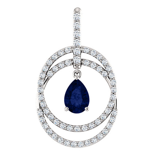 Double circle sapphire & diamond pendant