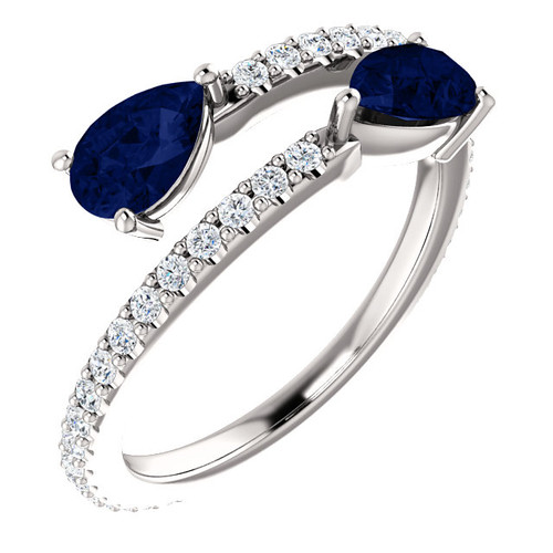 Chatham created blue sapphire & diamond bypass ring