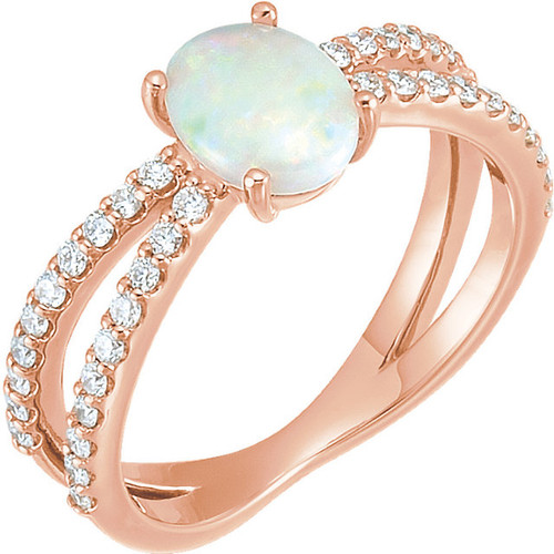 Rose Gold Opal & Diamond Ring