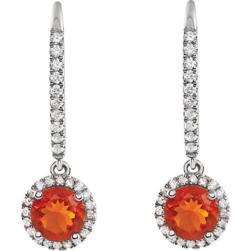 Mexican Fire Opal Halo Earrings