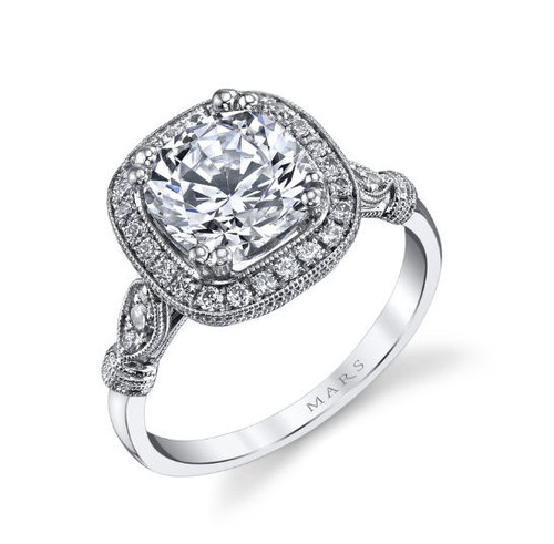 Cushion Cut Antique Inspired Engagement Ring
