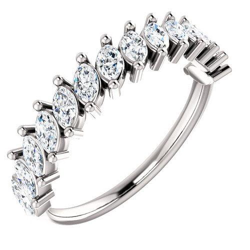 White Gold Marquise Diamond Anniversary Ring
