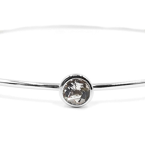 Sterling Silver Genuine White Topaz Bangle