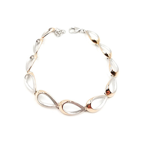 Silver & rose gold over silver bracelet