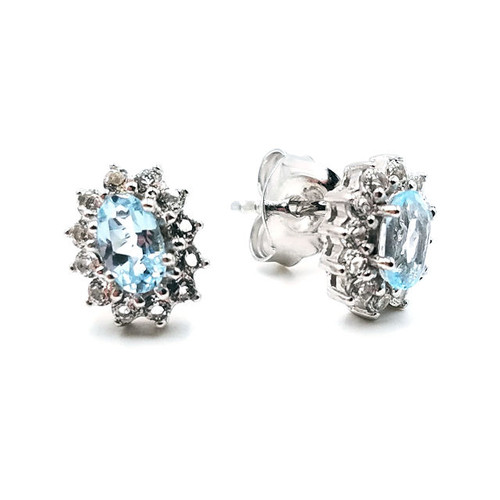 Sky blue topaz halo earrings