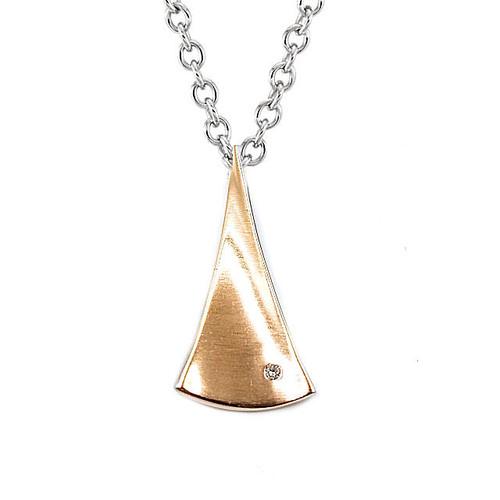 Silver Rose Gold Diamond Pendant