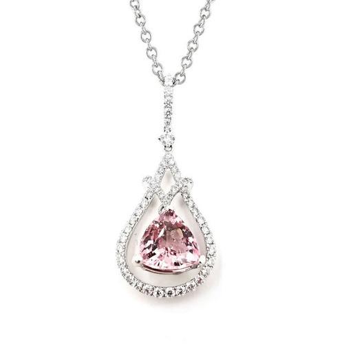 Pink Tourmaline Diamond Pendant