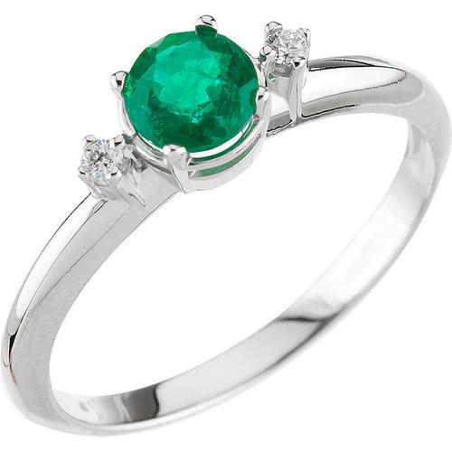 Genuine Round Emerald Diamond Ring