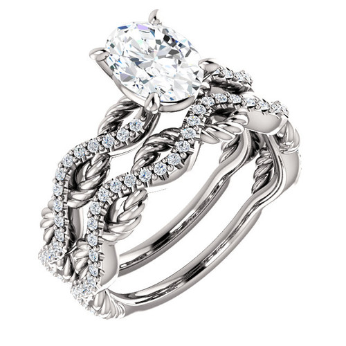 Oval Diamond Rope Twisted Bridal Set