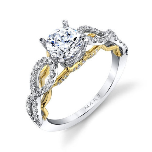 Two-Tone Diamond Engagement Ring