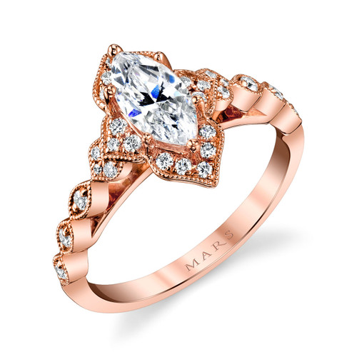 Marquise Rose Gold Floral Vintage Ring