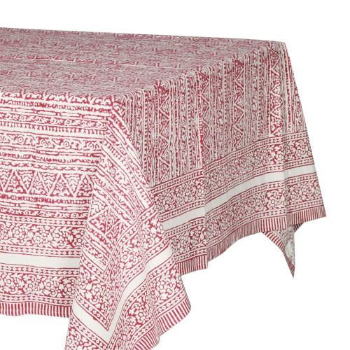 TABLECLOTH (6 - 8 SEATER) - PRINTED COTTON - RED