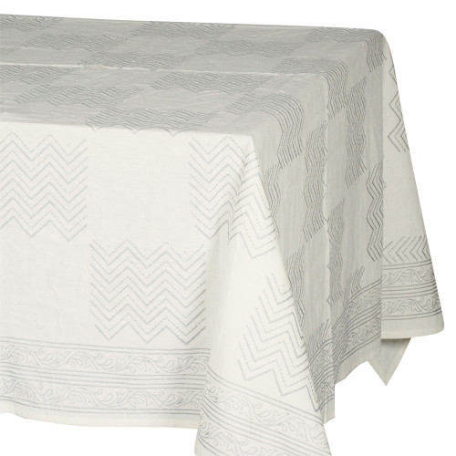 TABLECLOTH (6 - 8 SEATER) - SILVER ON CREAM ZIGZAG