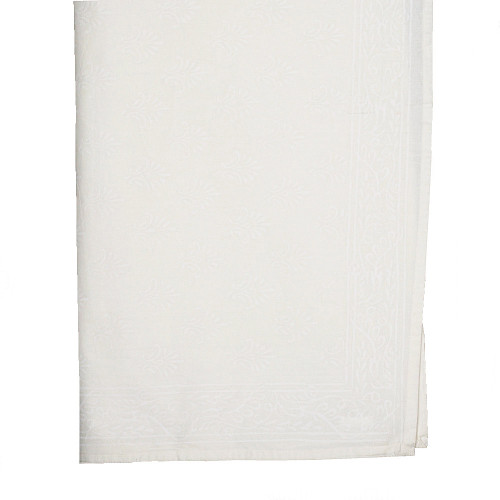 TABLECLOTH (8 - 10 SEATER) - WHITE ON CREAM