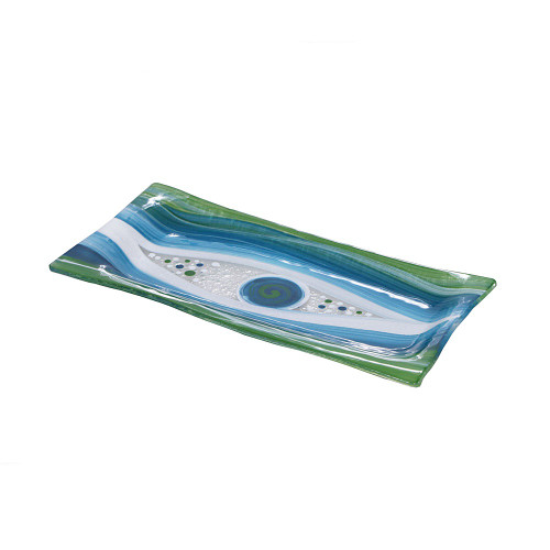 GREEN MIDI RECTANGULAR PLATTER - 12 X 24CM
