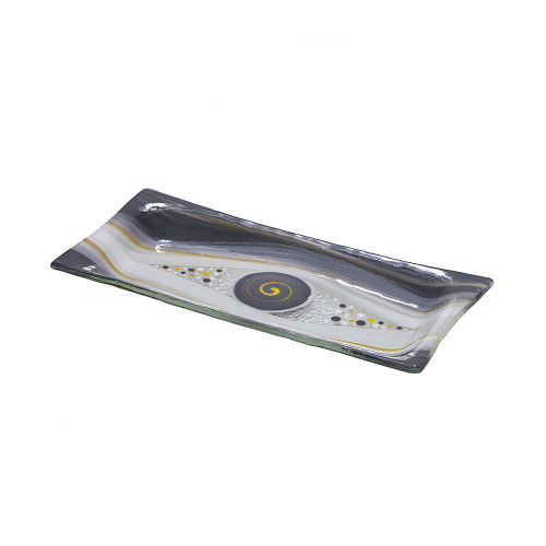 GREY MIDI RECTANGULAR PLATTER - 12 X 24CM