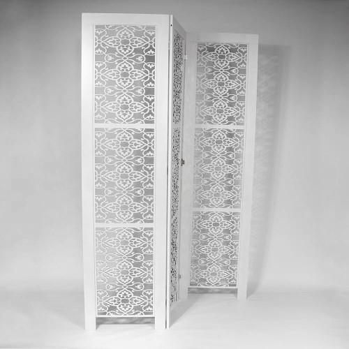 3 PANEL SCREEN OFF WHITE 195x5x50cm - FLOWERS
