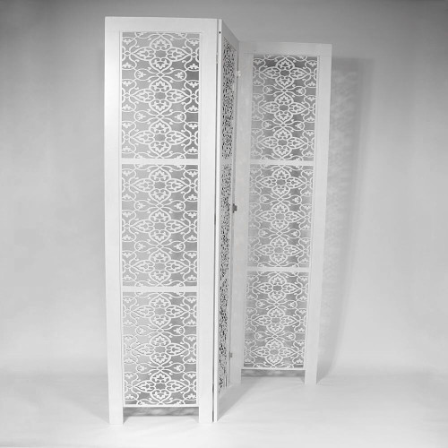 3 PANEL SCREEN OFF WHITE 195x5x50cm - FLOWERS