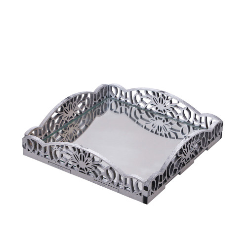 SMALL TRAY WITH MIRROR - SILVER 21 X 21 X 5
