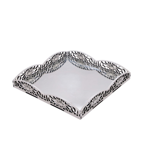 LARGE TRAY WITH MIRROR - CREAM 31 X 31 X 5