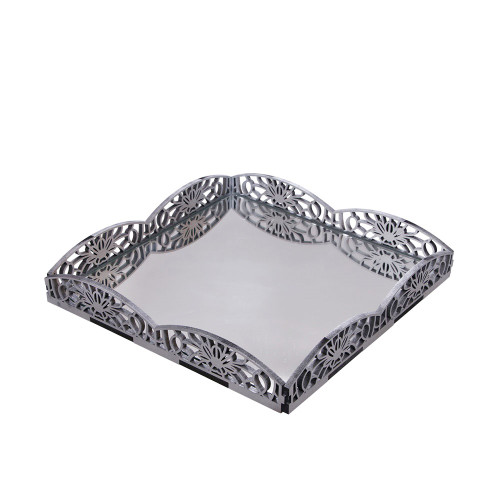 LARGE TRAY WITH MIRROR - SILVER 31 X 31 X 5