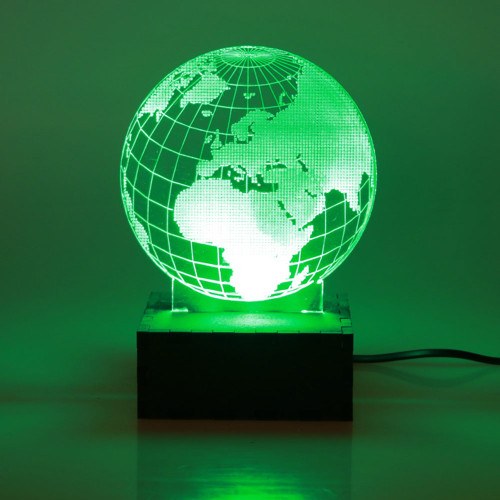 SQUARE LED LIGHT BOX GREEN WITH WORLD GLOBE DISPLAY