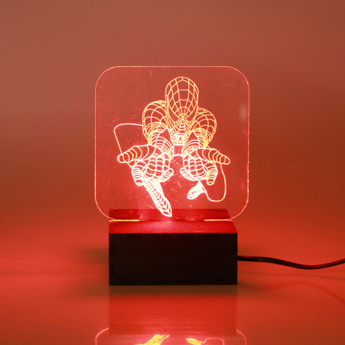 SQUARE LED LIGHT BOX RED WITH SPIDERMAN DISPLAY