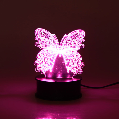 ROUND LED LIGHT BOX PINK WITH BUTTERFLY DISPLAY