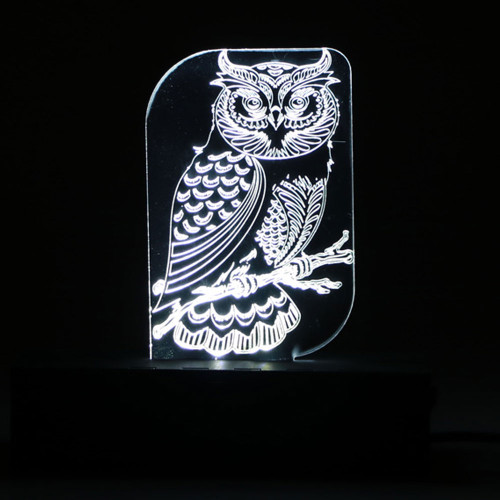 RECTANGULAR LED LIGHT BOX WHITE WITH OWL DISPLAY