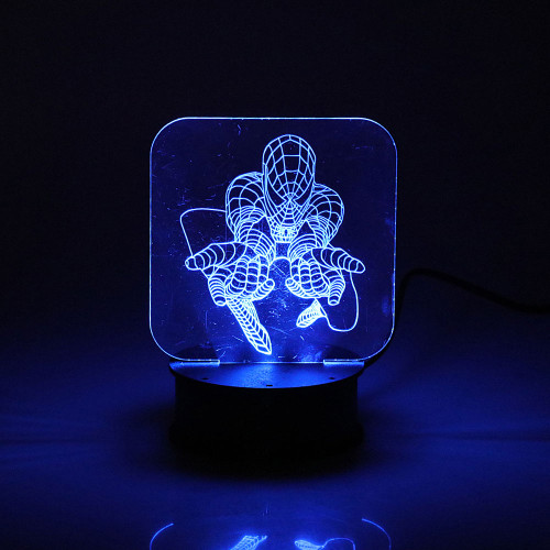 ROUND LED LIGHT BOX BLUE WITH SPIDERMAN DISPLAY
