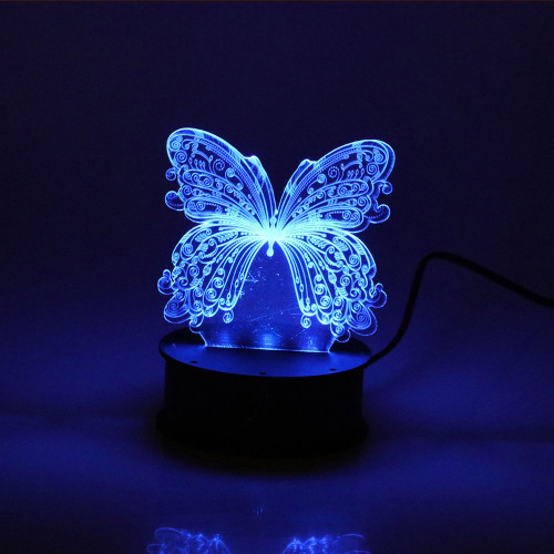 ROUND LED LIGHT BOX BLUE WITH BUTTERFLY