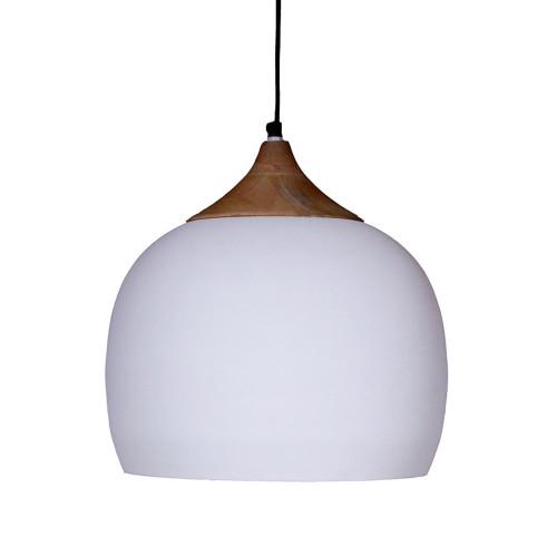 WHITE POWDER COATED PENDANT LAMP  WITH MANGO WOOD FINISH 39CM