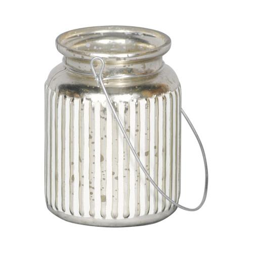 GLASS VOTIVE CANDLEHOLDER  - SILVER