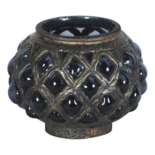 TEA LIGHT CANDLE HOLDER WITH METAL (GREY GLASS) 2