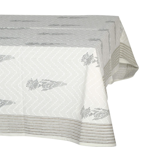 TABLECLOTH (6 - 8 SEATER) - BROWN, BLACK & WHITE