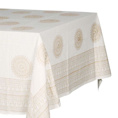 TABLECLOTH (6 - 8 SEATER) - PRINTED COTTON - METALLIC GOLD