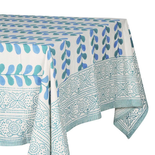 TABLECLOTH (6 - 8 SEATER) - PRINTED COTTON - TEAL BLUE