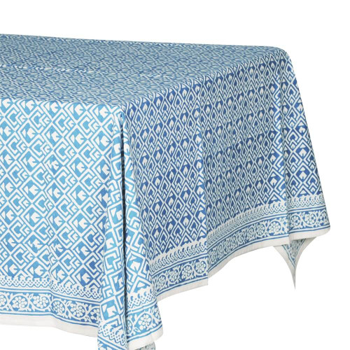 TABLECLOTH (6 - 8 SEATER) - PRINTED COTTON - DARK TURQUOISE