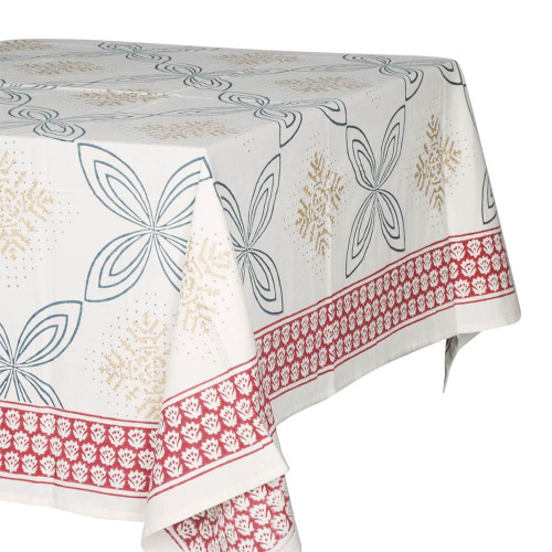 TABLECLOTH (6 - 8 SEATER) - PRINTED COTTON - RED, GOLD & NAVY