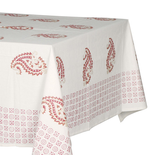 TABLECLOTH (6 - 8 SEATER) - PRINTED COTTON - RED PASLEY