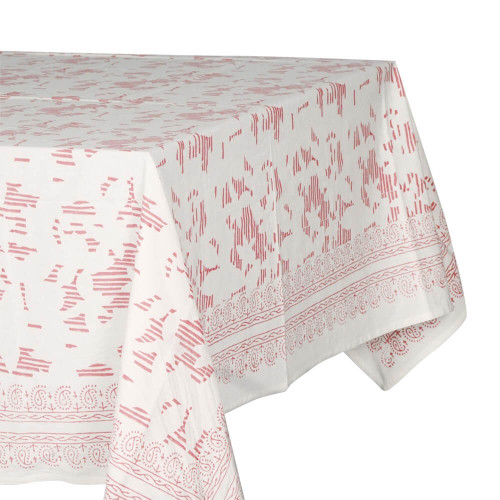 TABLECLOTH (6 - 8 SEATER) - PRINTED COTTON - APRICOT PINK